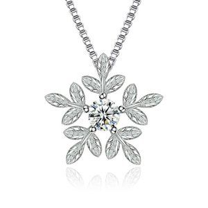 Jewelry - Silver Plated  Zirconia Snowflake Pearl Necklace